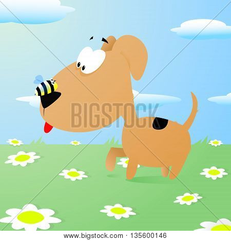 bee sits on the dogs nose vector illustration funny cartoon