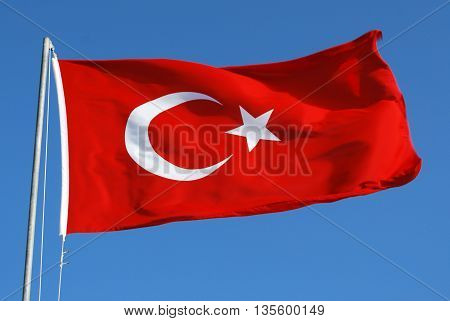 Turkish Flag Waving on the Wind with Sky Background