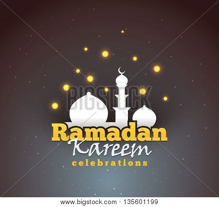 Ramadan Kareem greeting background. Colorful design for greeting postcard, web banner and printing material. Vector illustration.