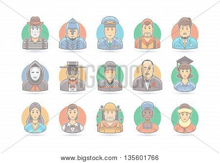 Cartoon people icon set. Vector character illustration. Isolated on white.