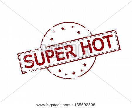 Rubber stamp with text super hot inside vector illustration