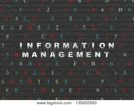 Data concept: Painted white text Information Management on Black Brick wall background with Hexadecimal Code