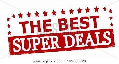 Rubber stamp with text the best super deals inside vector illustration
