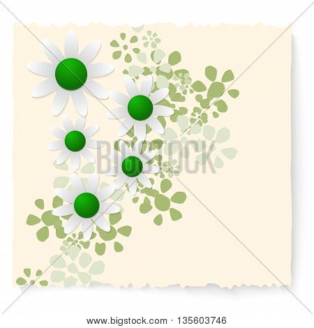 Yellow slip of paper and white flowers