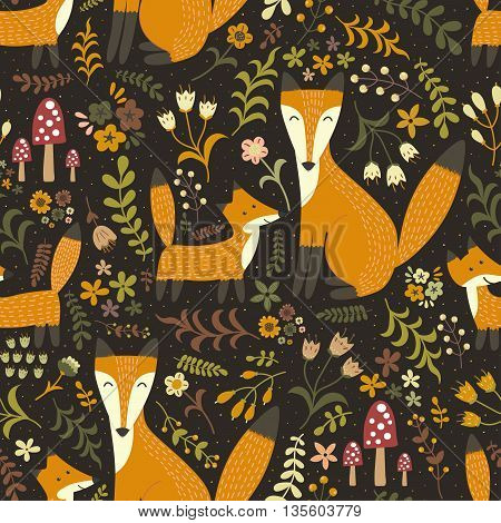 Adorable seamless pattern with cute foxes - Mother fox and her baby. Forest vector texture in childish style great for fabric and textile, wallpapers, web page backgrounds, cards and banners design
