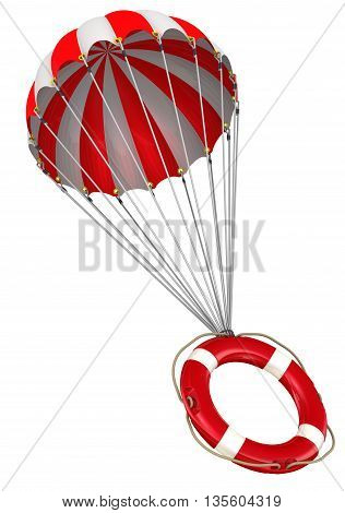 Symbol of zero percent on a parachute. Lifebuoy is falling down on parachute. Isolated. 3D Illustration