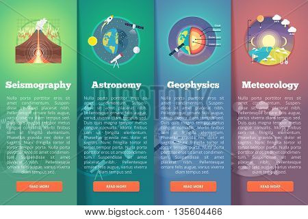 Earth planet science banner set. Seismography. Astronomy. Geophysics. Meteorology. Education and science vertical layout concepts. Flat modern style.