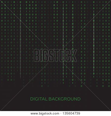 Stream of binary code on screen. Abstract vector background. Data and technology eps10