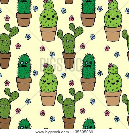 Seamless background with cactus is hand drawn