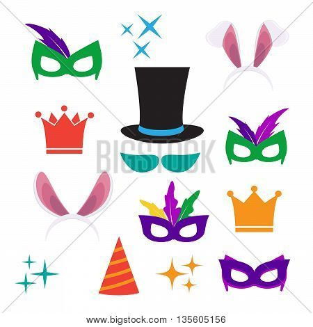 Party Birthday photo booth props. Hat and mask costume and cylinder bunny ears nose moustache eps10