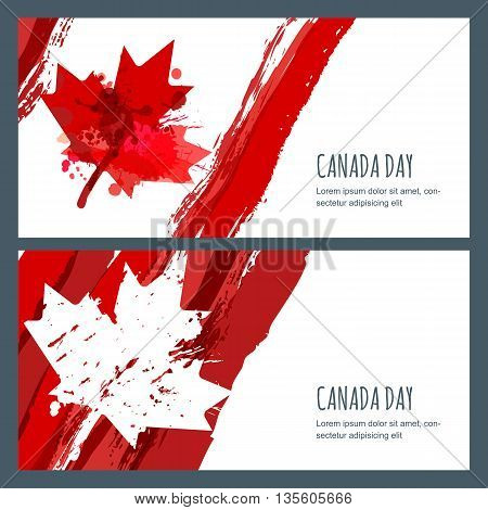 Vector Watercolor Banners And Backgrounds. 1St Of July, Happy Canada Day. Watercolor Hand Drawn Cana