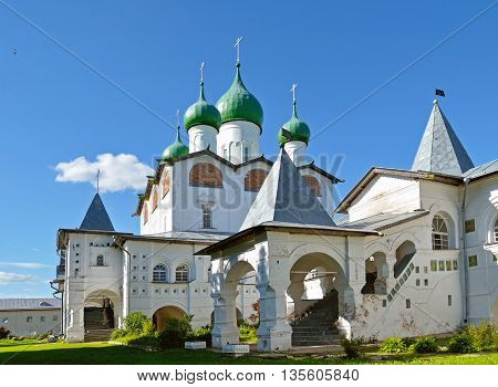 Architecture landscape - St Nicholas cathedral in Nicholas Vyazhischsky stauropegic monastery, Veliky Novgorod, Russia - architecture view in summer day of Orthodox temple architecture