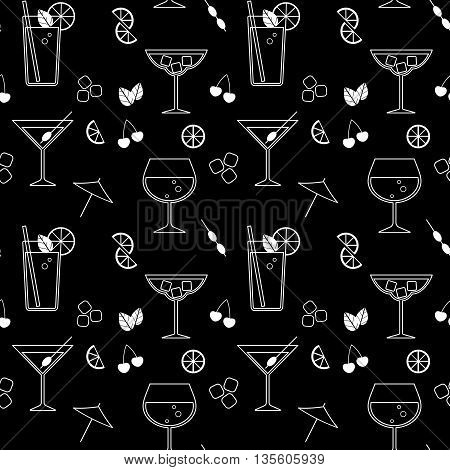 Black seamless background with cocktails and ingredients