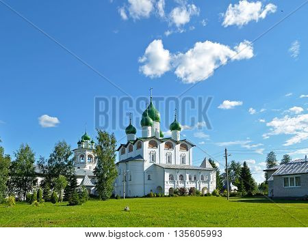 Architecture landscape - St Nicholas cathedral with belfry in Nicholas Vyazhischsky stauropegic monastery Veliky Novgorod Russia architecture view in summer day Orthodox temple architecture