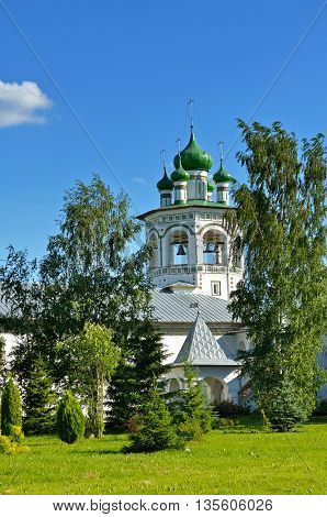 Architecture landscape - belfry in Nicholas Vyazhischsky stauropegic monastery Veliky Novgorod Russia architecture view in summer day Orthodox temple architecture