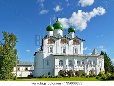 Architecture landscape - St Nicholas cathedral in Nicholas Vyazhischsky stauropegic monastery Veliky Novgorod Russia architecture view in summer day Orthodox temple architecture