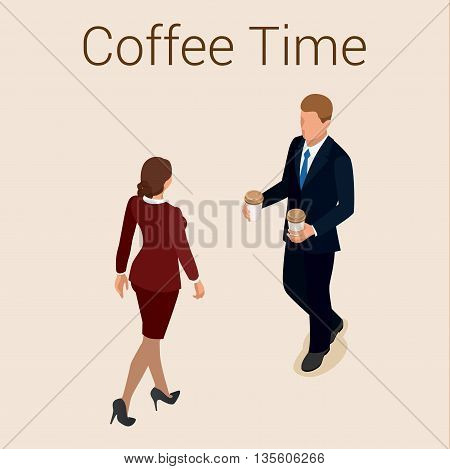 Coffee time or coffee break. Group People Chatting Interaction Socializing Concept. Flat 3d vector isometric illustration