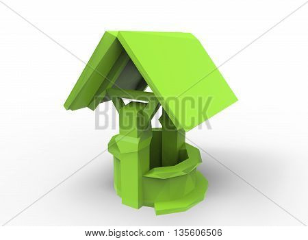 3d illustration of low poly water well. icon for game web. white background isolated. green color
