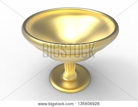 3d illustration of golden Holy grail. icon for game web. metal gold texture color. white background isolated. simple to use. cup for wine. prize of winners