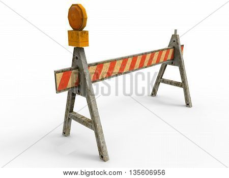 3d illustration of simple construction barrier. icon for game web. texture color. white background isolated. simple to use. empty without anybody. defense from enemy and cars. protection of road