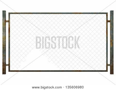 3d illustration of metal fence with rabitz. icon for game web. metal dirty texture color. white background isolated. simple to use. defense from enemy. gates in prison.