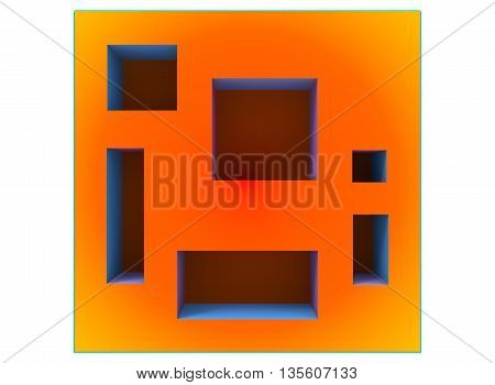 3d illustration of shelves. icon for game web. white background isolated.