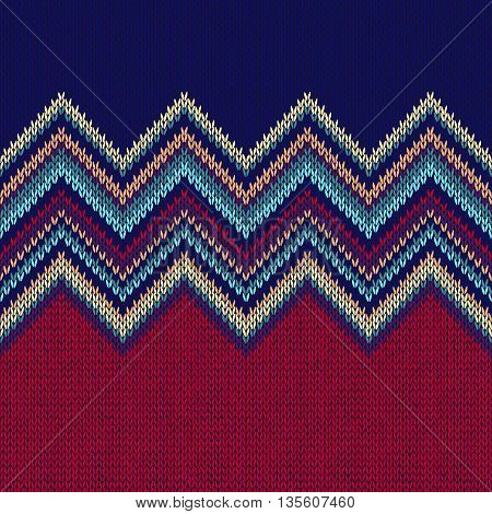 Seamless Ethnic Geometric Knitted Pattern. Red Vinous Blue White Christmas Horizontal Seamless Background