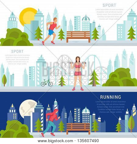 Vector set sport and fitness illustrations and banners on white background. Running man and fitness or bodybuilding women. Modern isolated illustration city sports