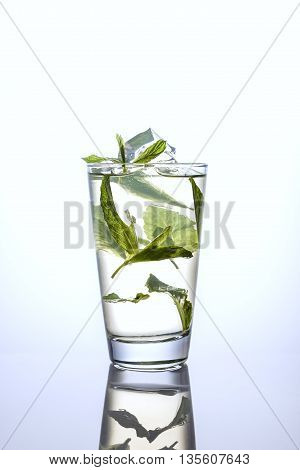 ice water and mint in a tall glass on white background with reflection