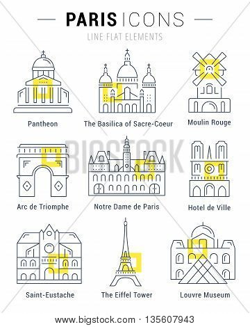 Set vector line icons in flat design Paris architecture and France building with elements for mobile concepts and web apps. Collection modern infographic logo and pictogram.