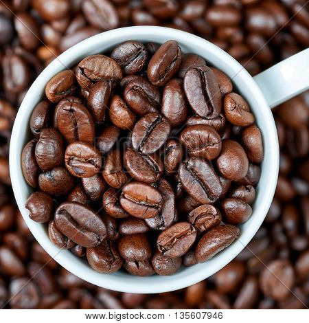 Roasted coffee beans in a white cup