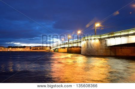 Liteyny bridge at white night in St.Petersburg Russia.