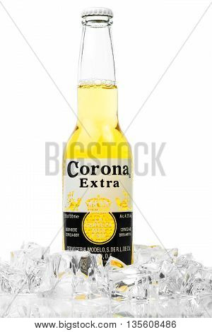 Trieste Italy - June 23 2016: Corona Extra is one of the top-selling beers worldwide is a pale lager produced by Cerveceria Modelo in Mexico.