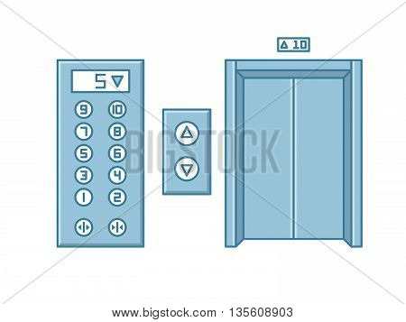 Close office building elevator and button panel. Line isolated vector