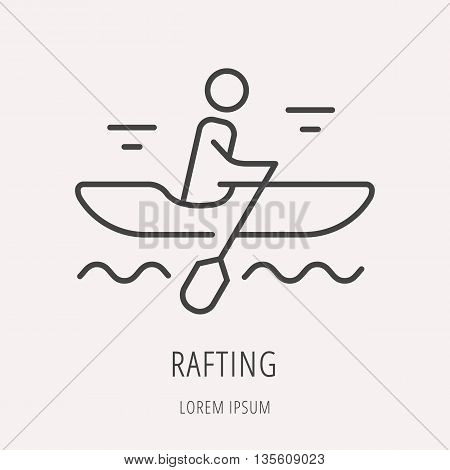 logo or label rafting. Line style logotype template. Easy to use business template. Vector abstract logo or emblem.