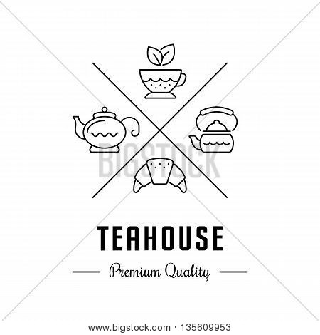 Vector logo tea with tea cup kettle teapot and croissant. Hipster logo label or banner for teahouse cafe tea shop.