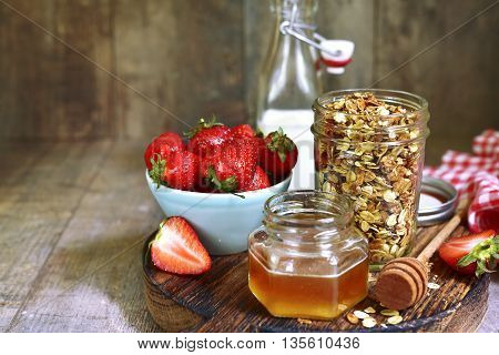 Healthy Breakfast: Granola With Honey And Strawberry.