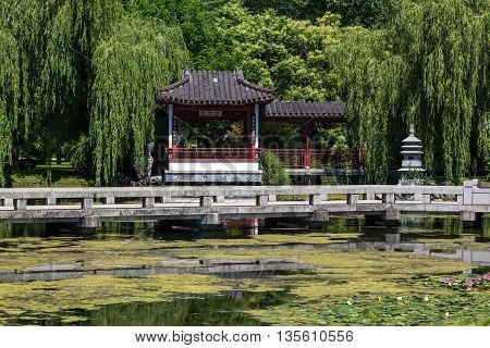 Chinese Garden, Chinese House At Lake