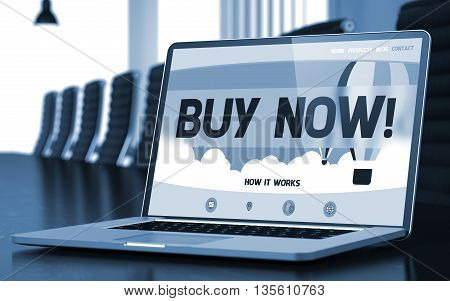 Buy Now. Closeup Landing Page on Laptop Screen. Modern Meeting Room Background. Toned Image. Blurred Background. 3D Illustration.