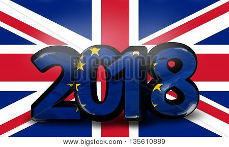 Europe United Kingdom 2018 Big Bold Font 3D Render Illustration