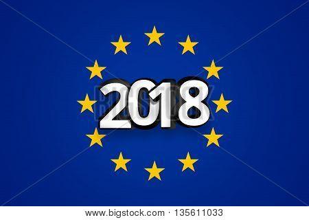 3D Render White 2018 Flag Of Europe Background Blue Color Design
