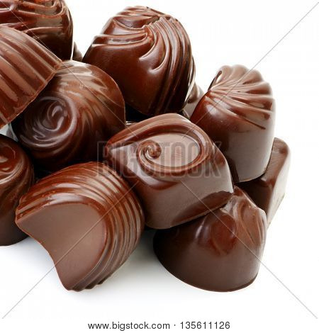 collection chocolate candies isolated on white background