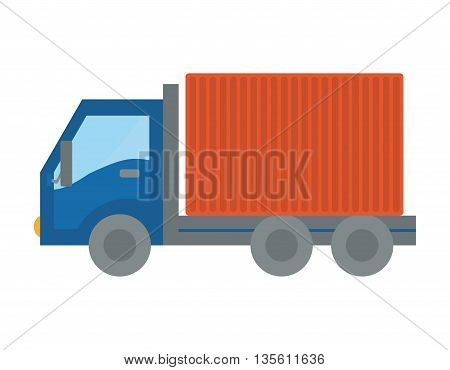 Delivery and shipping concept represented by truck icon over isolated and flat background