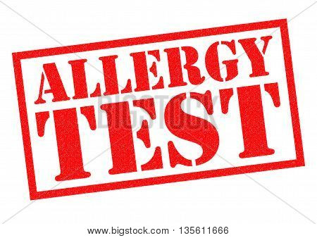 ALLERGY TEST red Rubber Stamp over a white background.