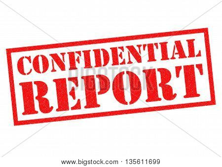 CONFIDENTIAL REPORT red Rubber Stamp over a white background.