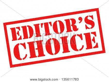 EDITORS CHOICE red rubber stamp over a white background.