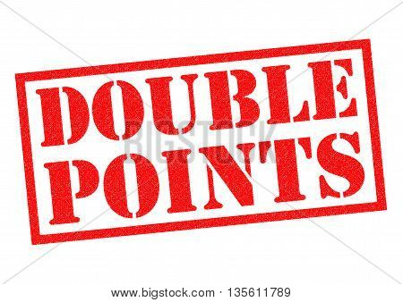 DOUBLE POINTS red Rubber Stamp over a white background.