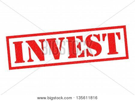 INVEST red Rubber Stamp over a white background.