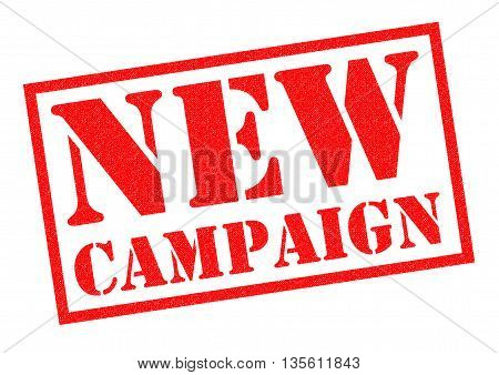 NEW CAMPAIGN red Rubber Stamp over a white background.