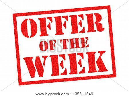 OFFER OF THE WEEK red Rubber Stamp over a white background.
